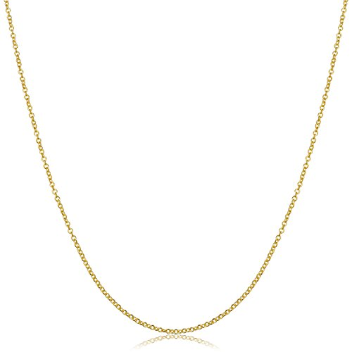 Kooljewelry 18k Yellow Gold Round Cable Chain Necklace (1 mm, 16 inch) ()