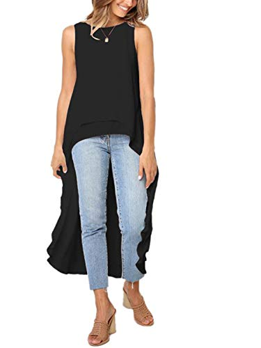 Stylelachic Women's Sleeveless High Low Asymmetrical Irregular Hem Tops Round Neck Casual Blouse Shirt Dress - Black S