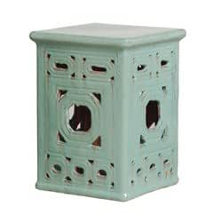 "Emissary Classic And Antique 18""H Turquoise Square Frame Lattice Garden Stool"