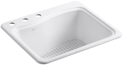 - KOHLER K-6657-3-0 River Falls Self-Rimming Sink with Three-Hole Faucet Drilling, White