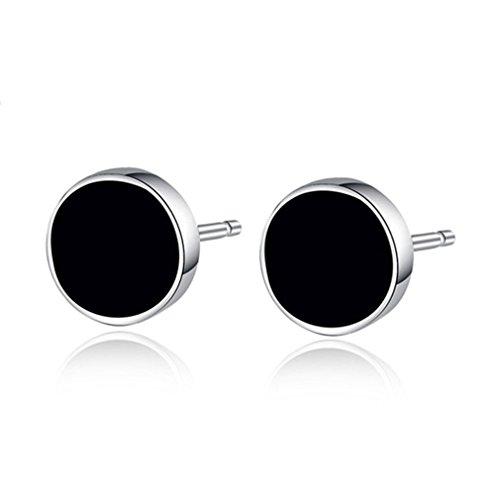 YEX Earrings Jewlery Black Crystal Silver Stud Earrings for Men by FashionLifeCN