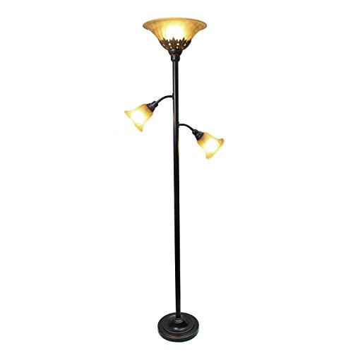 Elegant Designs LF2002-RBZ 3 Light Floor Lamp with Scalloped Glass Shades, 3.9, Restoration Bronze Amber Victorian Table Lamp