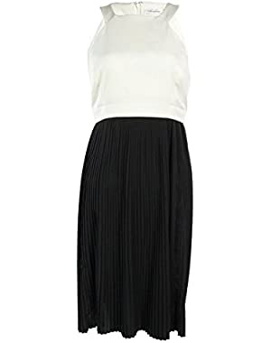 Calvin Klein Women's Color block Pleat Dress