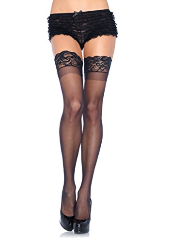 Leg Avenue Women's Plus Size Thigh High Stockings with Silicone Lace Top, (Legs Avenue Plus Size)