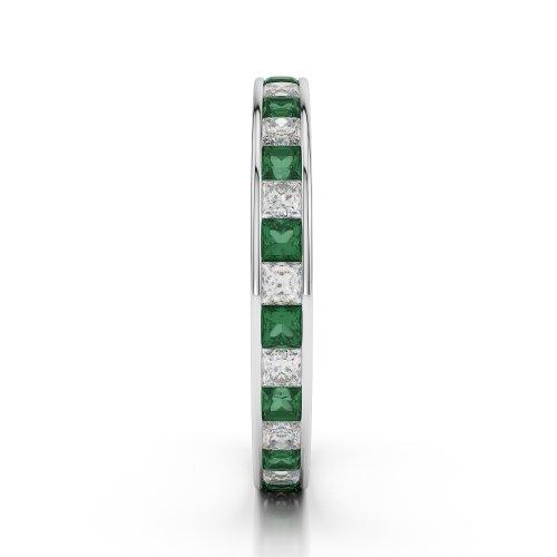 Or blanc 18carats 1CT G-H/VS sertie de diamants ronds découpé Émeraude et bague éternité Agdr-1132