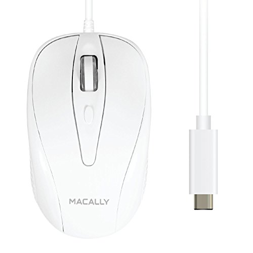 Macally Wired USB-C Mouse for Apple MacBook Pro 2017 / 2016, MacBook 12-Inch, Chromebook, Windows PC, Computer or Laptops with Type-C Port - White (UCTURBO)