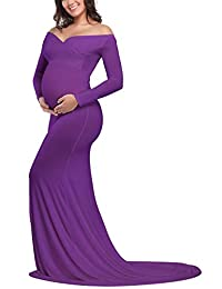 JustVH Maternity Fitted Gown Cross-Front V Neck Ruched Long Sleeve Maxi Photography Dress