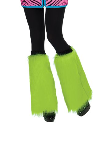 Rubie's Costume Fluffies Faux Furry Leg Warmers, Lime Green, One Size (Plus Size 1980's Halloween Costumes)