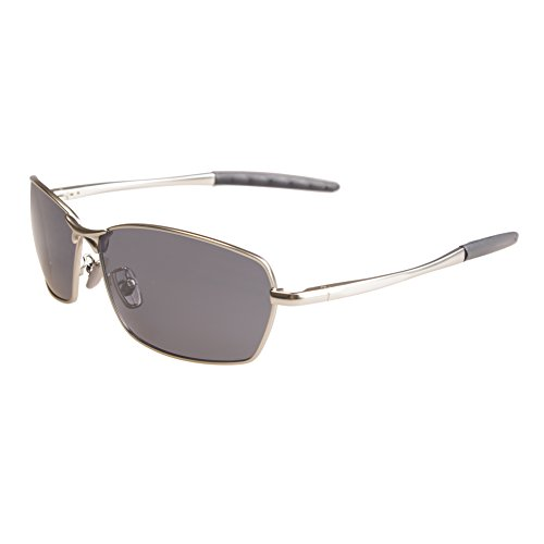 ZHILE 8-base Curve Wrap Metal Frame Polarized Oval Sunglasses for Men Driving Fishing (Silver frame Grey lens, - Curves Sunglasses
