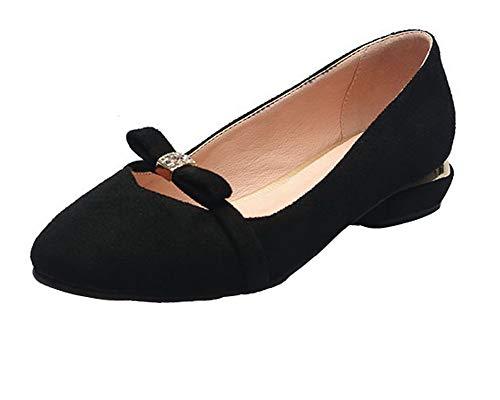 Unie PU Femme Talon Bas Noir TSFDH005684 Chaussures AalarDom Cuir Tire Couleur Légeres à OwU8q