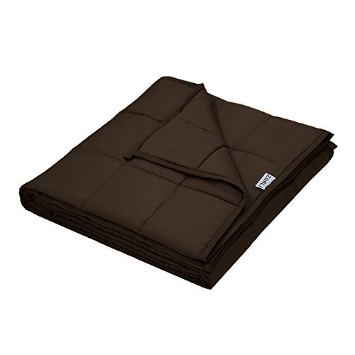 ZonLi Weighted Blanket (60x80, 15lbs for 120-180lb Individual, Brown) for Adults Women, Men, Youths | Premium Cotton with Glass Beads