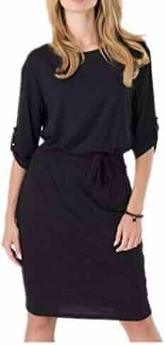 b4f5666ad2 fyasuifdnakfnas Womens Elegant Retro 3/4 Sleeve Tunic Sheath Belted Casual  Party Bodycon Sheath Dress