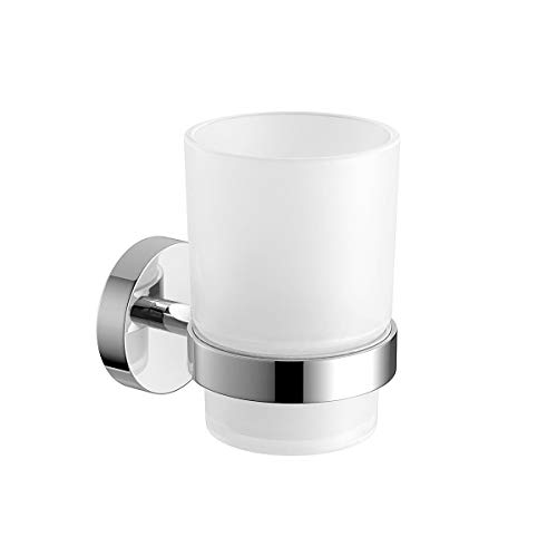 SWETON Wall-Mounted Toothbrush Holder with Frosted Glass Cup
