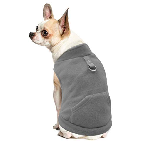 EXPAWLORER Fleece Autumn Winter Cold Weather Dog Vest Harness Clothes with Pocket, Grey Small (Teacup Dog Pet Apparel)