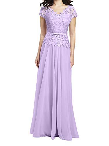 Promkleider Rock Braut Chiffon La Spitze A Linie Lilac Lang Abschlussballkleider Abendkleider mia Ballkleider Kurzarm nUnA7Ywq