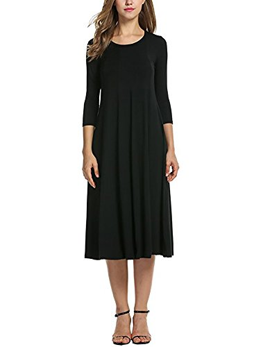 Ladybranch Women's 3/4 Sleeves Solid Color Casual Long Dress A-Line Loose Pleated Midi Dress (XX-Large, - Jersey Pleated Black