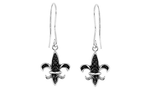 Black Natural Diamond Accent Fleur De Lis Dangle Earrings In 14K White Gold Over Sterling Silver