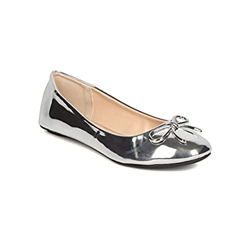 53aa32235a9 Qupid GK55 Women Metallic Leatherette Round Toe Bow Tie Ballet Flat -  Silver 60%OFF
