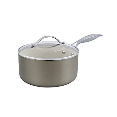 Trisha Yearwood Royal Precious Metals 2 Quart Non-Stick Ceramic Covered Saucepan, Titanium