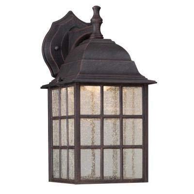 Ciata Lighting LED Decorative Outdoor Wall Lantern with seeded Glass Windowpane Panels and Weathered Patina Finish Ideal for entryway, Garage Door, Porch, Deck, Patio, or Balcony