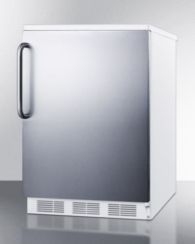Summit FF6BI7SSTBADA: Commercially approved, ADA compliant built-in undercounter all-refrigerator with stainless steel door and towel bar handle