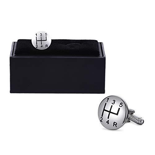 Valyria Car Shift Gear Cufflinks Car Auto 5 Speed Gear Stick Shift Knob Shifter Cufflinks with a Presentation Gift Box