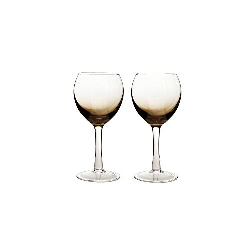 (Denby 0.33 Litre Glass Halo/Praline Wine Glass, Pack of 2,)
