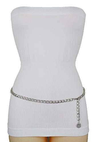 Belt Link Tone Silver Chain (TFJ Women Skinny Belt Hip High Waist Metal Chain Link Ethnic Coin Charm M L XL Silver)