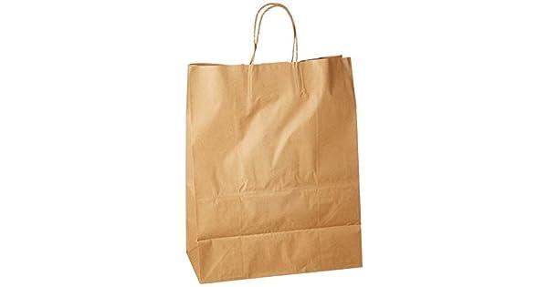 Amazon.com: Bolsas de compras de papel craft con asas de ...