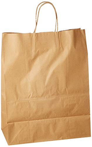 (Generic Natural Kraft Paper Retail Shopping Bags with Rope Handles, 13 x 7 x 17 Inches, 50 Count)