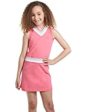 Girl Tennis and Golf Outfit - Sleeveless V Neck Tennis Dress with Shorts