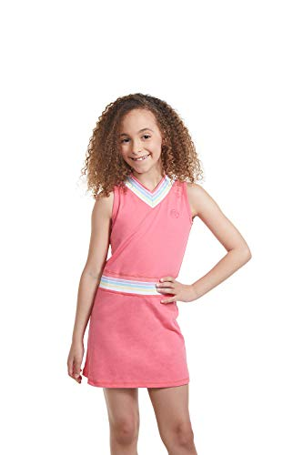 Girl Tennis Outfit - Sleeveless V Neck Tennis Dress with Shorts Pink/M