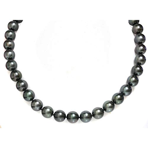 South Sea Round Pearl Green (14K Gold 11-12mm Tahitian South Sea Cultured Pearl Necklace - 17