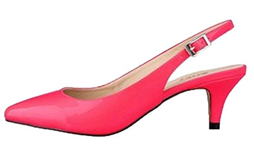 HooH Women's Pointed Toe Kitten Slingback Dress Sandals Rose Red v83o9JZk