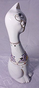 Feng Shui Black Cat Hand Crafted and Decorated Chinese Porcelain,figurine D105112. Black