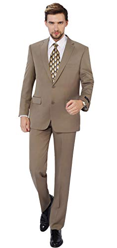 (P&L Men's 2-Piece Classic Fit Single Breasted 2 Buttons Blazer & Trousers Suit)
