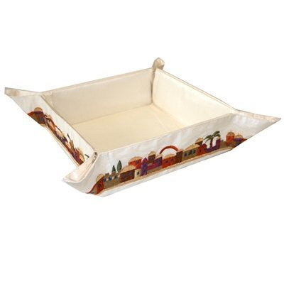 - Matzah Plate for Seder Table, Embroidered Folding Basket for Matzah. Ideal for the Passover Table, Red Jerusalem Design