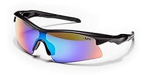 Luna Eclipse Running Cycling Sunglasses with Hard Protective Case (Aquamarine Revo Lenses, Black Frame)