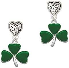 Large Green Shamrock Celtic Heart Earrings