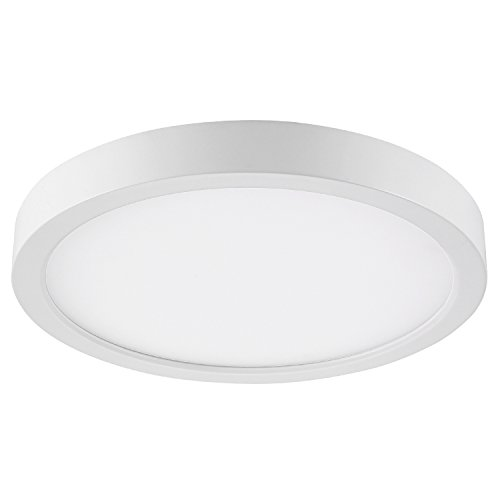 GetInLight Round 8-inch Dimmable Flush Mount Ceiling Fixture, (2nd Generation) 14 Watt, White Finish, 3000K Soft White, 80W Replacement, Damp Location Rated, ETL Listed, IN-0306-2-WH