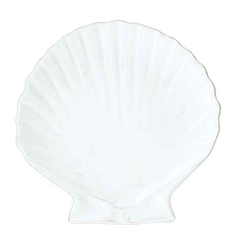 Blue Sky 7.5'' Sea Shell Shaped Ceramic Plate (White) by Blue Sky