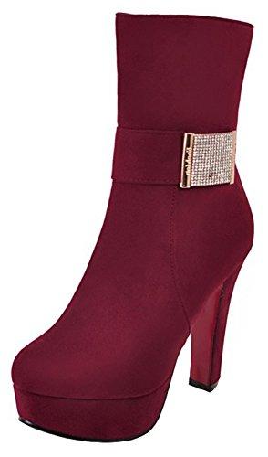 Mofri Women's Sexy Faux Suede Rhinestone Belt Round Toe High Chunky Heel Platform Mid Calf Boots with Zipper (Burgundy, 9.5 B(M) (Sexy Suede Rhinestones)