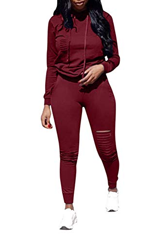 2 Funny Womens Tracksuit - Ophestin Women Casual Long Sleeve Hoodies Ripped Top Skinny Long Pants Set Tracksuits 2 Piece Jumpsuits Outfits Wine M