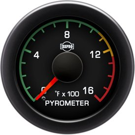 ISSPRO R17021 EV² Pyrometer With Color Band 0-1600 - Full Kit, Black Face, Red Pointer, Green Backlight, Black Bezel,