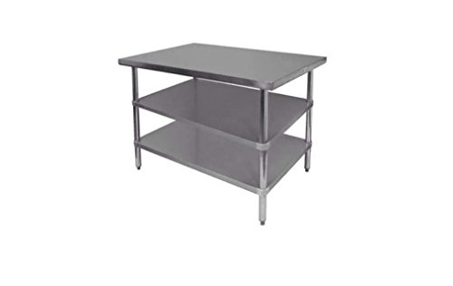 Stainless Steel Prep Work Table X With Undershelves NSF - 18 x 48 stainless steel work table