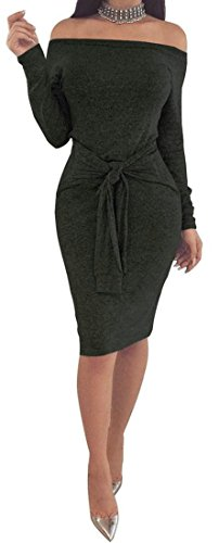 Bodycon Womens Long Sheath Shoulder Cromoncent Off Black Sexy Sleeve Dress 10xqOXd