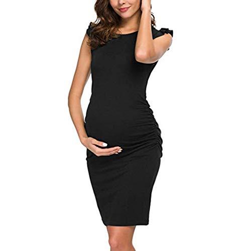 Forthery Womens Maternity Summer Ruffle shoulder Sleeveless Casual Sundress Pregnancy Sheath Dress(Black,X-Large)