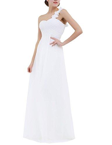 (YiZYiF Chiffon Applique One Shoulder Long Bridesmaids Party Dress Ivory 16 )