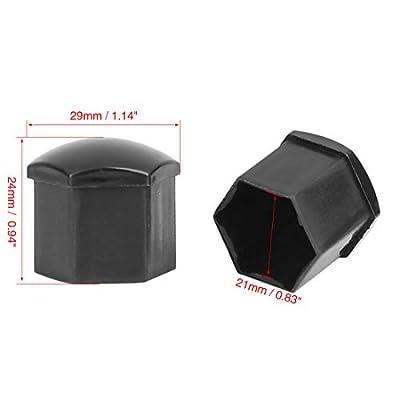 X AUTOHAUX 20pcs 21mm Universal Black Plastic Car Wheel Nut Lug Hub Screw Rim Bolt Covers Dust Protection Caps with Removal Tool Clip: Automotive