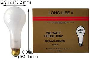 (Case of 30) A23 Incandescent Lamps | 200A2399IF 130V FROST EXTENDED LIFE